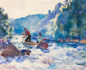 down the rapids by frank weston benson