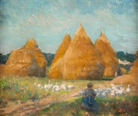 tending the flock by robert william vonnoh