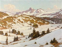 winter, mt. rainier, paradise valley by william wendt