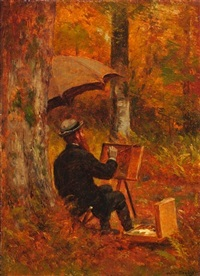an artist at his easel by worthington whittredge