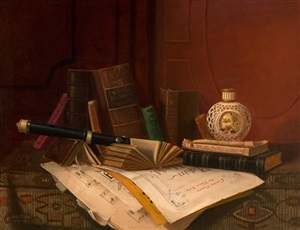 still life with books and flute by nicholas alden brooks