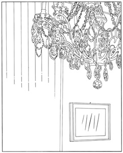 chandelier traced by louise lawler