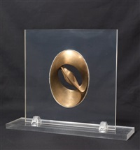 bronze cast of the alabaster in 'construction with alabaster carving' by naum gabo