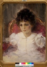 portrait of a sitting young girl in a pink dress by valentin aleksandrovich serov