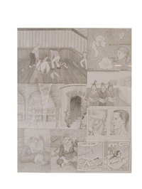 dream drawing (i'm with mike and anita in an old dark wood house...) by jim shaw