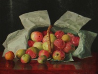 lady apples in an overturned basket by william j. mccloskey