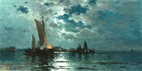 ships in moonlight by edward moran