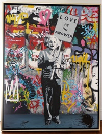 love is the answer (silkscreen on canvas)<br />einstein by mr. brainwash