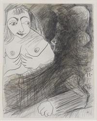 vieil homme et buste de femme by pablo picasso