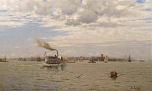 new york harbor from bedloe's island by august gottfried ludwig fricke