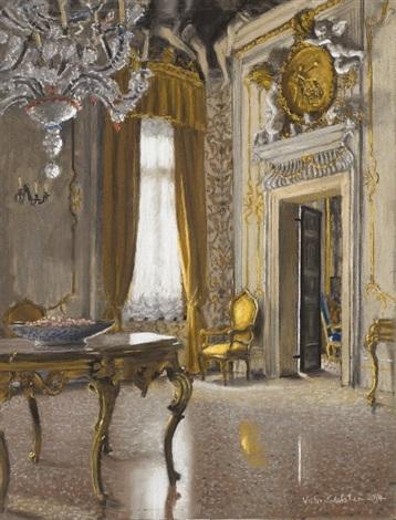 A Corner Of The Sala Da Ballo, Palazzo Albrizzi Venice By Victor Edelstein