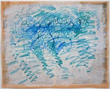 untitled blue zig zags by paul thek