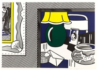 two paintings: green lamp by roy lichtenstein