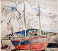 beached fishing boats gaspe by marc-aurèle fortin