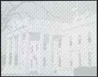 set of 4 works: gray white house, black white house, gray white house, green white house by wayne gonzales