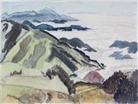 nebelwolken zwischen bergen by erich heckel