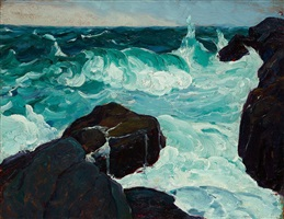 monhegan seascape by leon kroll
