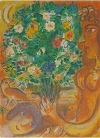 woman with bouquet by marc chagall