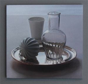 still life with glass carafe by lucy mackenzie