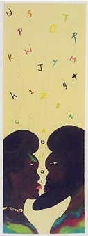 alphabet love watercolour on paper by chris ofili