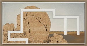 prototype for billboard at a-z west: big rock on hill behind house by andrea zittel