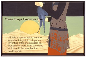 prototype for billboard at a-z west: these things i know for sure #1 (az in fiber form holding scarf) by andrea zittel