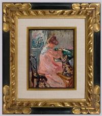 young woman with the cat & dog (jeune femme au chin et au chat) by louis valtat