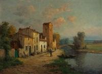 riviere du midi avec rue de village by antoine bouvard
