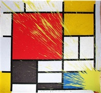 mondriart - yellow by mr. brainwash