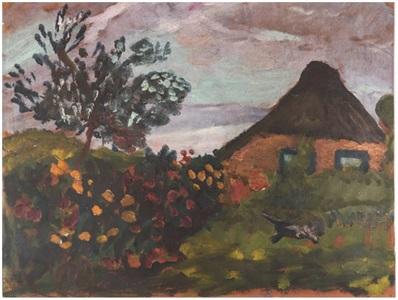 bauernhaus mit blumengarten und katze by paula modersohn becker