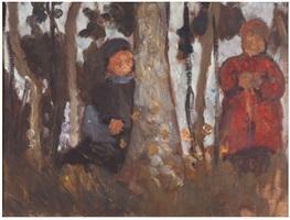zwei kinder zwischen birken by paula modersohn-becker