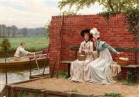 riverside gossip by edmund blair leighton