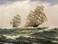 ocean race 1866 --ariel and taeping homeward bound from foochow by henry scott