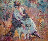 girl with her dog by charles f. arcieri