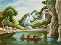 buffalo river (canoe with three men) by thomas hart benton