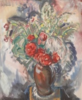 still life with roses in a vase by alfred henry maurer