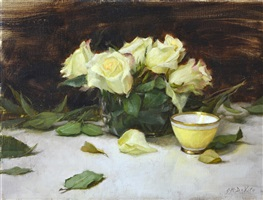 yellow tea cup and roses by grace mehan devito