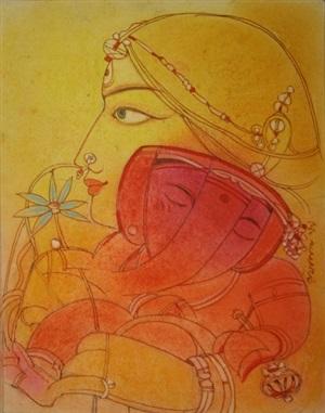 ganesh with lotus by ramananda bandopadhyay