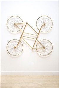forever (stainless steel bicycles in gilding) duo by ai weiwei