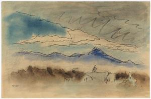 landscape near lincoln, massachusetts by lyonel feininger