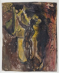 man tapping a furnace by graham sutherland