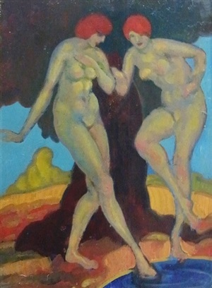 bathers by derwent lees