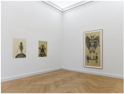 installation view from left to right diosa de las tormentas 100 x 70 cm leviatan 995 x 70 cm belcebú triptych each drawing 70 x 100 cm by sandra vásquez de la horra