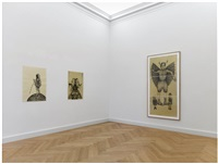 installation view (from left to right: diosa de las tormentas, 100 x 70 cm; leviatan, 99,5 x 70 cm; belcebú, triptych, each drawing 70 x 100 cm) by sandra vásquez de la horra