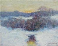 winter sunset by ernest albert