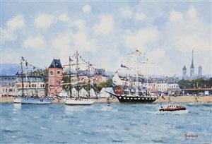 vieux bateaux dans le port de rouen by jean pierre dubord