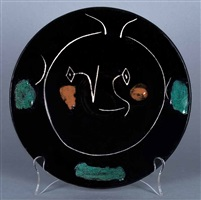 """""""black face"""" service, plate b by pablo picasso"""
