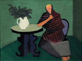 shawled woman seated at a table by milton avery