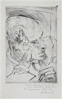 selbstbildnis mit aufgestürtzer wange (self portrait, hand to cheek) by max beckmann
