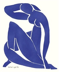femme bleue assise ii by henri matisse